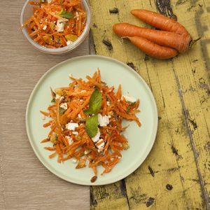 wortelsalade met feta en munt